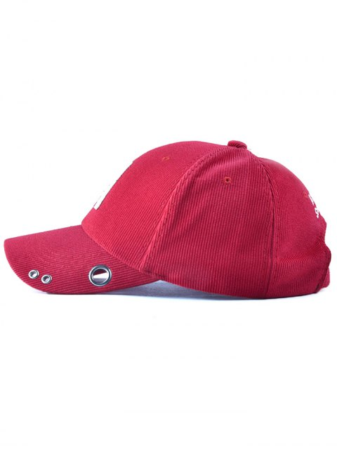 outfits Casual Corduroy Stripe Lettres Adjustable Baseball Cap - RED  Mobile