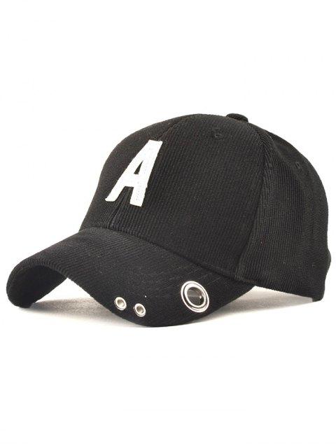 shop Casual Corduroy Stripe Lettres Adjustable Baseball Cap - BLACK  Mobile