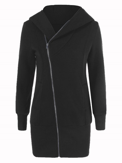 affordable Inclined Zip Up Long Hoodie - BLACK L Mobile
