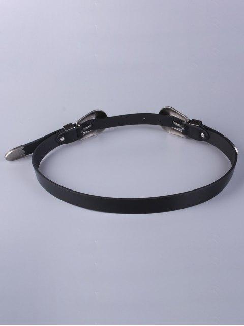 lady Trousers Wear Double Buckle Belt - BLACK  Mobile