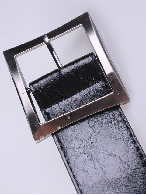 trendy Coat Wear Square Buckle Belt - BLACK  Mobile