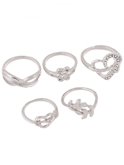 fancy Rhinestone Infinite Heart Ring Set - SILVER ONE-SIZE Mobile