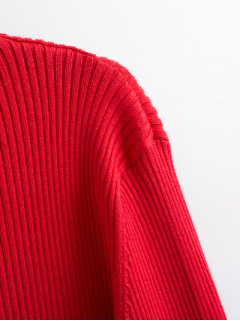 fancy Contrast Trim High Collar Jumper - RED M Mobile