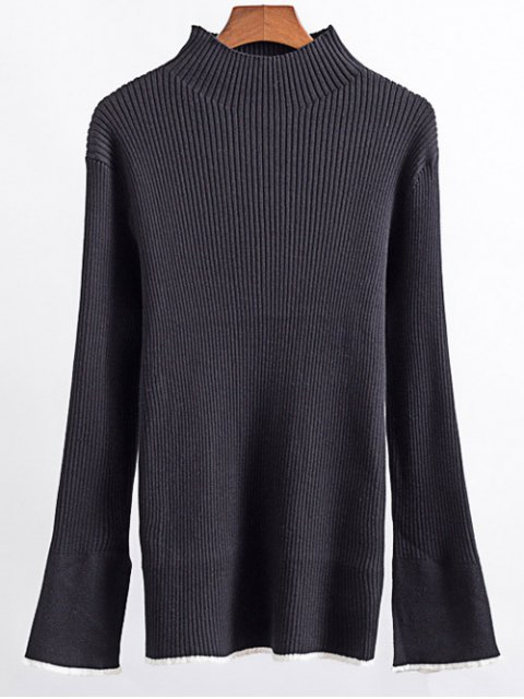 affordable Contrast Trim High Collar Jumper - BLACK M Mobile