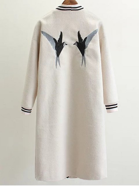 outfits Collarless Bird Embroidered Coat - WHITE S Mobile