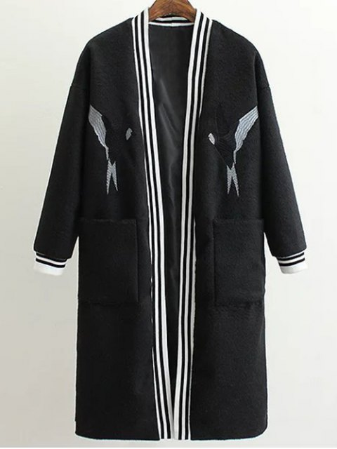 shop Collarless Bird Embroidered Coat - BLACK L Mobile