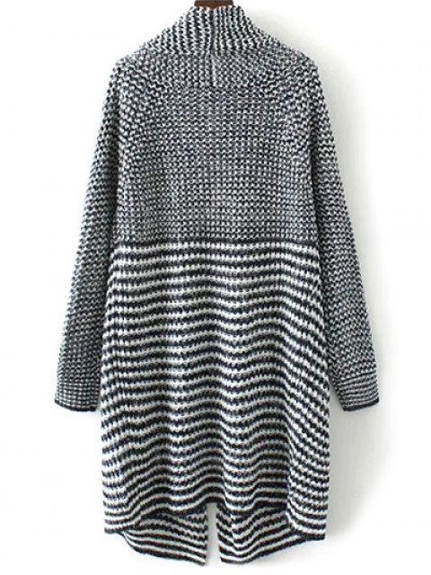 outfits Striped Long Knitted Cardigan - COLORMIX L Mobile