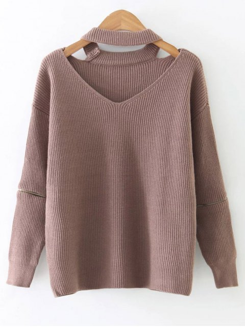 best Zipped Sleeve Choker Jumper - PINK ONE SIZE Mobile