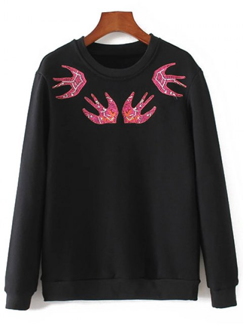 latest Swallow Embroidered Sweatshirt - BLACK L Mobile