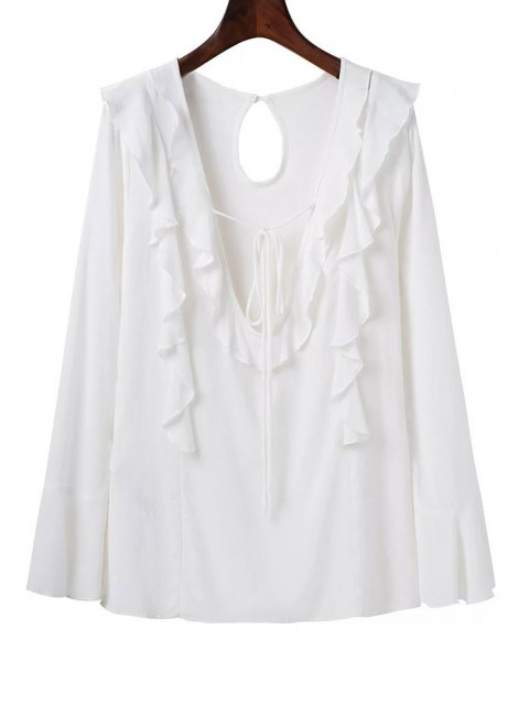 hot Plunging Neck Frilly Blouse - WHITE L Mobile