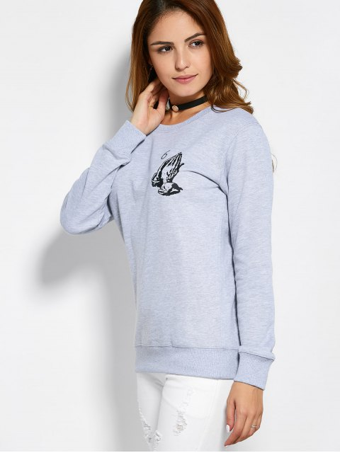 trendy Pullover Crewneck Sweatshirt - GRAY L Mobile
