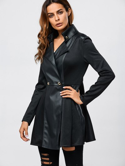 Faux Leather Splicing Fit And Flare Coat - Black