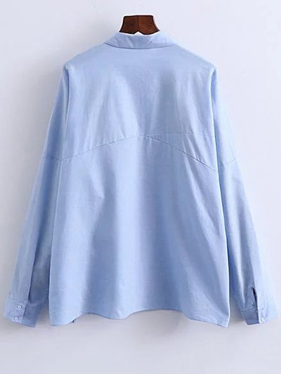 Patched Oversized Shirt - BLUE L Mobile