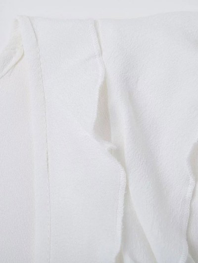 Plunging Neck Frilly Blouse - WHITE M Mobile