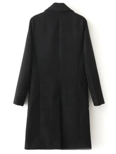 Double Breasted Wool Blend Midi Coat - BLACK S Mobile