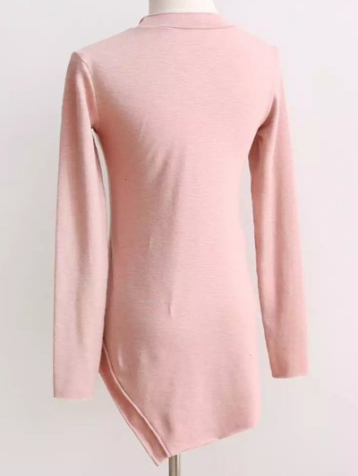 Long Sleeves Patchwork T-Shirt - PINK ONE SIZE Mobile