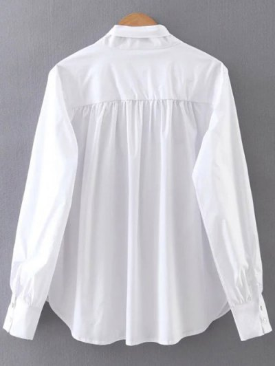 Pleated Stand Neck Shirt - WHITE S Mobile