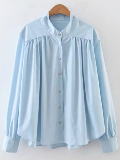 Pleated Stand Neck Shirt - SKY BLUE L Mobile