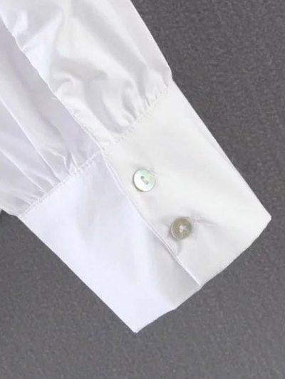 Pleated Stand Neck Shirt - SKY BLUE M Mobile