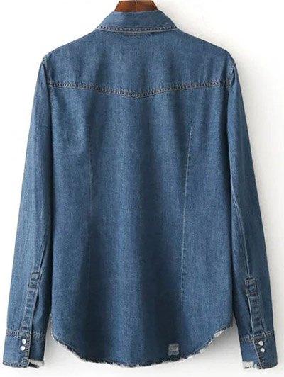 Floral Patched Denim Shirt - DEEP BLUE L Mobile