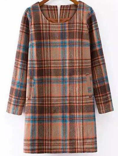 Plaid Wool Blend Shift Dress - COLORMIX XL Mobile