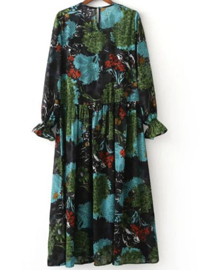 Printed Ruffled Cuffs Dress With Cami Dress - COLORMIX M Mobile