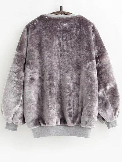 Faux Fur Sherpa Sweatshirt - GRAY ONE SIZE Mobile