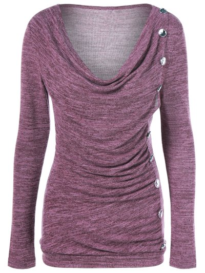 Plus Size Ruched Button Embellished Pullover Top - RUSSET-RED 3XL Mobile