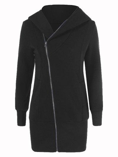 Inclined Zip Up Long Hoodie - BLACK XL Mobile