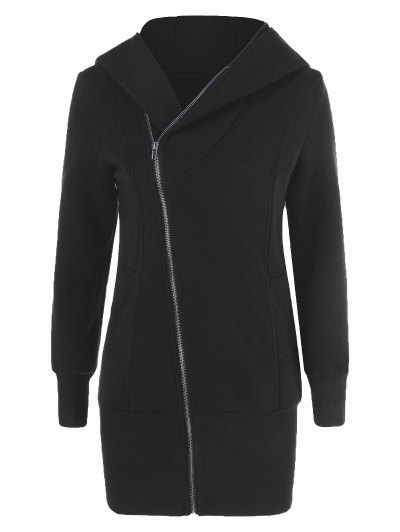 Inclined Zip Up Long Hoodie - BLACK M Mobile