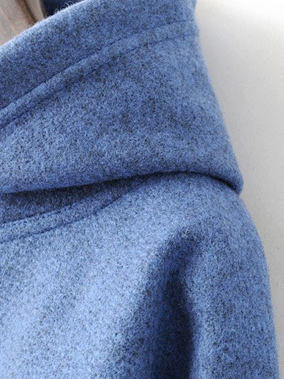Oversized Drawstring Hoodie - BLUE L Mobile