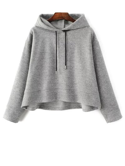 Oversized Drawstring Hoodie - GRAY M Mobile