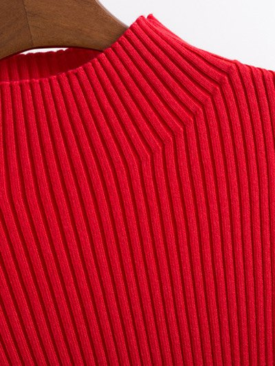 Contrast Trim High Collar Jumper - RED M Mobile