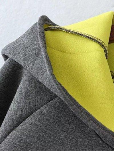 Color Block Rabbit Design Hoodie - GRAY 2XL Mobile