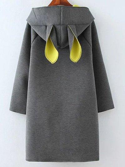Color Block Rabbit Design Hoodie - GRAY XL Mobile