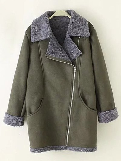 Zip-Up Faux Suede Coat - ARMY GREEN XL Mobile