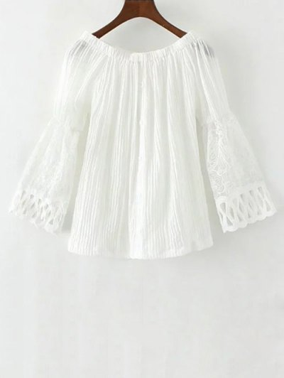 Lace Spliced Off The Shoulder Blouse - WHITE L Mobile