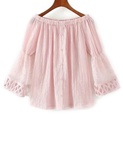 Lace Spliced Off The Shoulder Blouse - PINK L Mobile