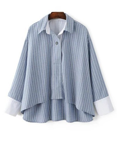 Striped High-Low Blouse - LIGHT BLUE L Mobile