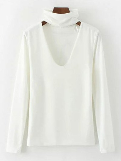 Turtle Neck Knitwear - WHITE S Mobile