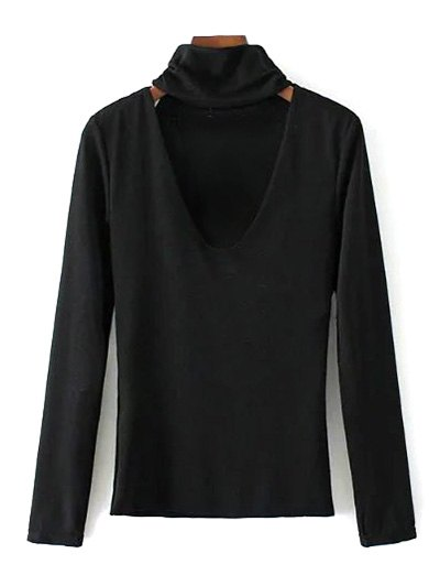 Turtle Neck Knitwear - BLACK S Mobile