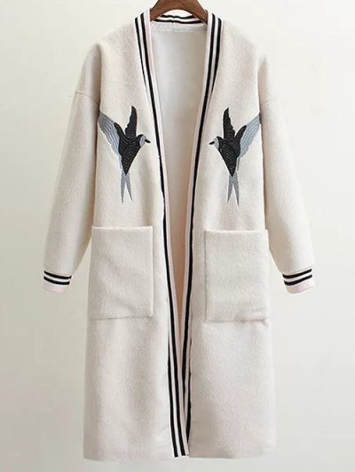 Collarless Bird Embroidered Coat - WHITE M Mobile