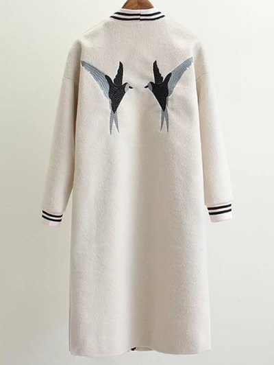 Collarless Bird Embroidered Coat - WHITE S Mobile