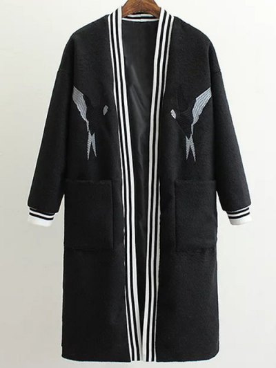 Collarless Bird Embroidered Coat - BLACK L Mobile