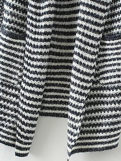 Striped Long Knitted Cardigan - COLORMIX L Mobile