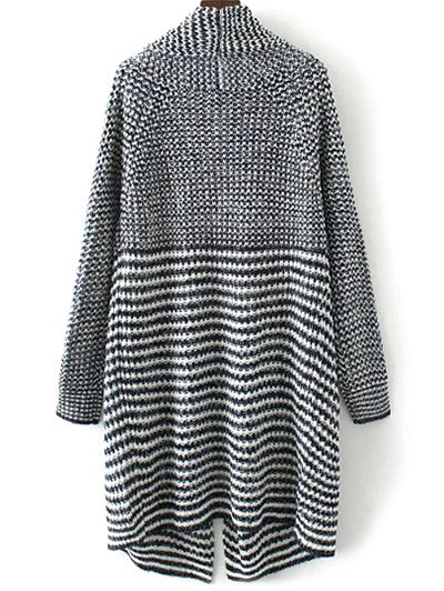 Striped Long Knitted Cardigan - COLORMIX M Mobile