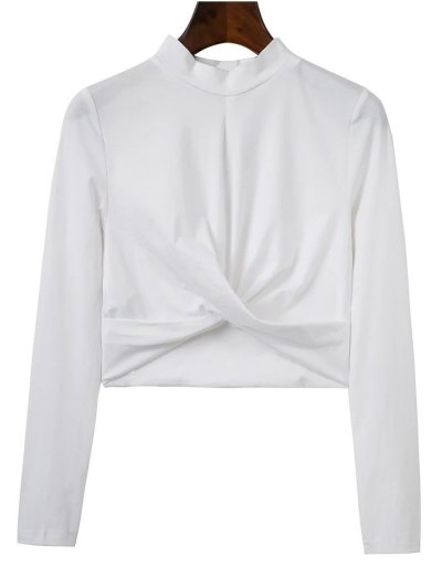Cropped High Collar T-Shirt - WHITE S Mobile
