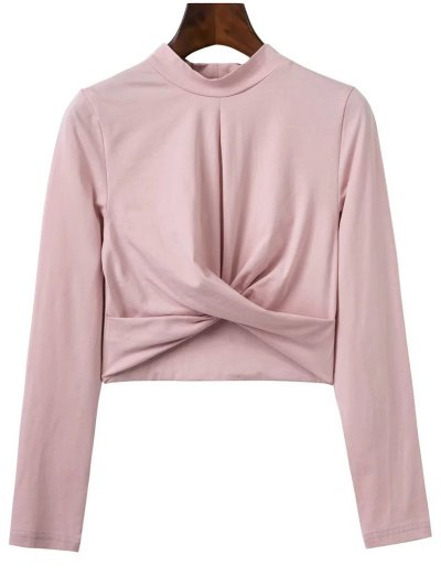 Cropped High Collar T-Shirt - PINK L Mobile