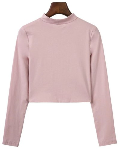 Cropped High Collar T-Shirt - PINK M Mobile