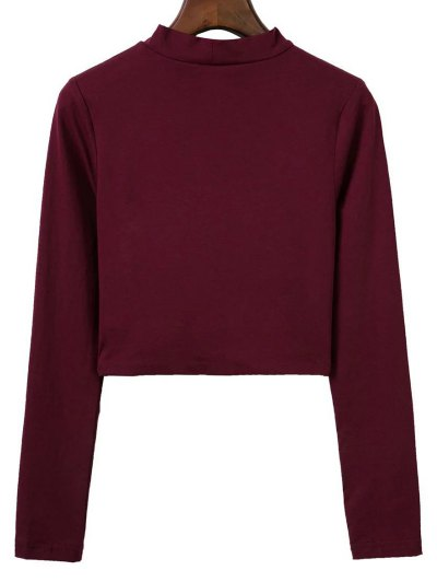 Cropped High Collar T-Shirt - WINE RED S Mobile